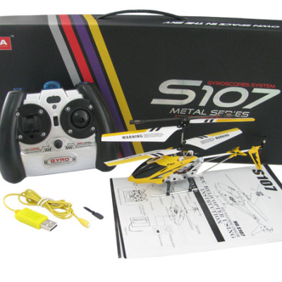 "8.7"" Mini 3CH S107G Metal Helicopter w/Gyro Yellow"