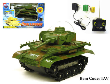 "12"" RC Tank for Land and Water, 360 Degree Turn TAV GREEN"