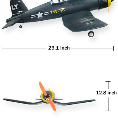 "33"" Wingspan 4CH TW-748 F4U Pirate Airplane"