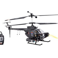 "17.7"" 3 CH Hughes Defender RC Military Helicopter RTF w/ LED Night Lights + Gyro + Action Figures"